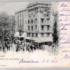 Postales: T - BARCELONA - RAMBLA DE LAS FLORES - 1901. Lote 268116849