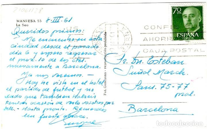 Postales: Manresa - La Seo - Foto Gamisans nº 53 - 142x92 mm - Foto 2 - 268741864