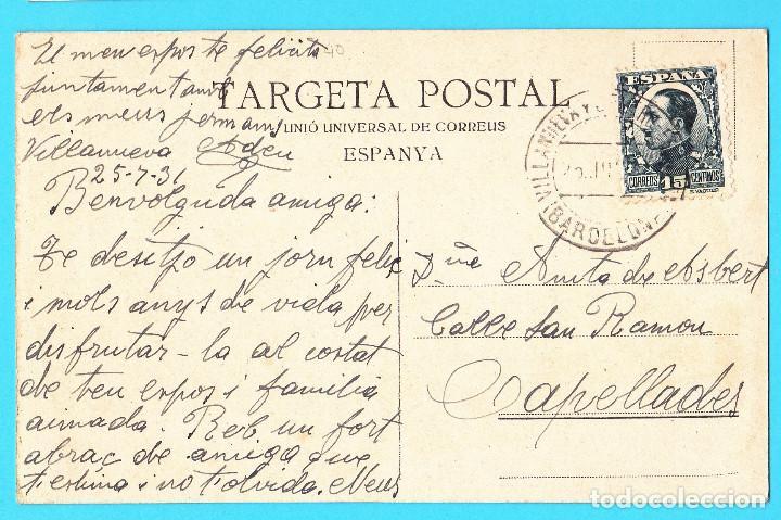 Postales: Nº1. TORÀ SERIE 1. VISTA GENERAL CIRCULADA CON SELLO EN 1931. - Foto 2 - 269084138
