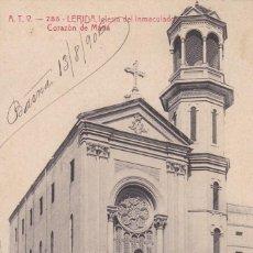 Postales: LLEIDA IGLESIA INMACULADO CORAZON DE MARIA. ED. A.T.V. ANGEL TOLDRA VIAZO Nº 755. CIRCULADA EN 1906. Lote 269473818
