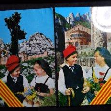 Cartoline: 2 POSTALES * PAREJA DE NIÑOS, FONDO MONTSERRAT *1975. Lote 276655663