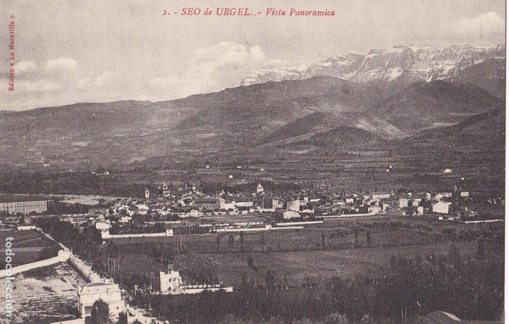 LLEIDA, SEO DE URGEL VISTA PANORAMICA. ED. LA MARAVILLA. Nº 2. SIN CIRCULAR (Postales - España - Cataluña Antigua (hasta 1939))