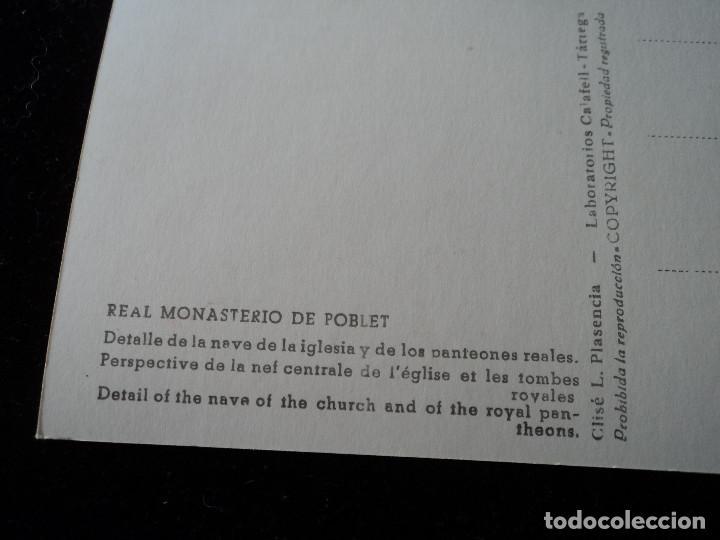 Postales: real monasterio de poblet, detalle de la nave, clise, l. plasencia - Foto 2 - 288666773