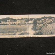 Postales: PALAFRUGELL-PLATJA DE LLAFRANC-PUBLICIDAD HOTEL CELIMAR-POSTAL DOBLE ANTIGUA-(84.142). Lote 289354448