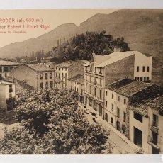 Postales: 27.CAMPRODON(ALT.950 M)/ PLASSA DE DOXTOR ROBERT I HOTEL RIGAT/ L.ROISIN/ ORIGINAL DE ÉPOCA. Lote 289519403