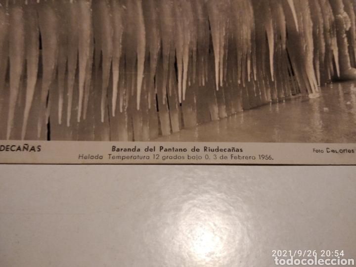 POSTAL ANTIGUA 1956 RIUDECAÑAS BARANDA DEL PANTANO HELADA (Postales - España - Cataluña Moderna (desde 1940))