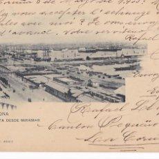 Postales: BARCELONA, VISTA DESDE MIRAMAR. ED. HAUSER Y MENET Nº 260. REVERSO SIN DIVIDIR. CIRCULADA EN 1903. Lote 294437723
