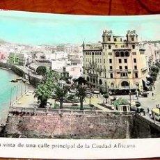 Postales: ANTIGUA POSTAL COLOREADA DE CEUTA - VISTA DE LA CALLE PRINCIPAL - FOTO RUBIO. Lote 680433