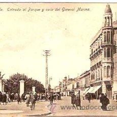 Postales: POSTAL MELLILA ENTRADA AL PARQUE Y CALLE DEL GENERAL MARINA . Lote 11868729