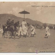 Postales: TETUAN EL JALIFA REVISTANDO TROPAS. Lote 25276471
