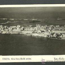 Postales: 0721 - CEUTA - UNA VISTA DESDE AVIÓN - FOTO RUBIO - DATA 1944. Lote 25956528