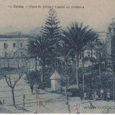 Postales: POSTAL DE CEUTA PLAZA DE ÁFRICA Y CUARTEL DE ARTILLERÍA AL FONDO. Lote 28323393