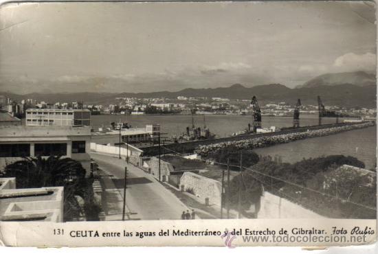 POSTAL CEUTA, ENTRE LAS AGUAS DEL MEDITERRANEO, FOTO RUBIO (Postales - España - Ceuta Moderna (desde 1940))