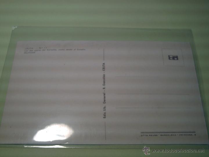 Postales: Nº 17 - CEUTA - LOS DOS MARES DEL ESTRECHO VISTOS DESDE EL ESTADIO MUNICIPAL -CAMPO DE FUTBOL- - Foto 2 - 40022558