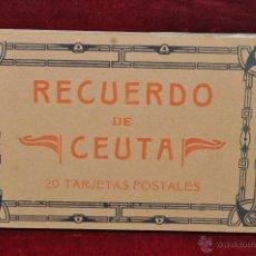 Postales: ALBUM DE POSTALES RECUERDO DE CEUTA. DIFERENTES VISTAS. HAUSER Y MENET. 20 TARJETAS. Lote 42887468
