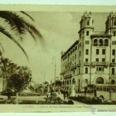 Postales: POSTAL CEUTA JARDINES DE SAN SEBASTIÁN Y CASA TRUJILLO CIRCULADA SELLO 1944. Lote 43548434