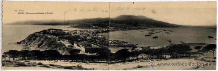 POSTAL DOBLE CEUTA VISTA GENERAL DESDE EL HACHO MARRUECOS FOTOTIPIA HAUSER Y MENET (Postales - España - Ceuta Antigua (hasta 1939))