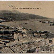 Postales: POSTAL CEUTA VISTA PARCIAL Y BARRIO LA SALUD MARRUECOS FOTOTIPIA HAUSER Y MENET. Lote 46449349