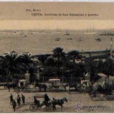 Postales: POSTAL CEUTA JARDINES DE SAN SEBASTIAN Y PUERTO MARRUECOS FOTOTIPIA HAUSER Y MENET. Lote 46449374