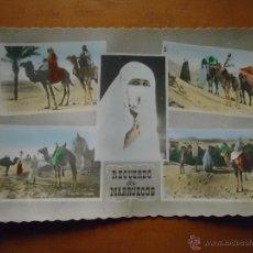 Postales: ANTIGUA POSTAL COLOREADA ESCENAS DE MARRUECOS EDICIONES ARRIBAS. Lote 46628898