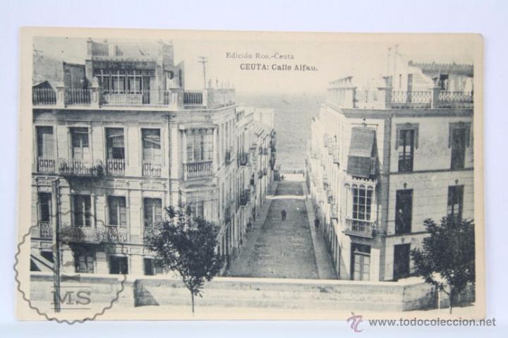 ANTIGUA POSTAL - CEUTA. CALLE ALFAU - HAUSER Y MENET - SIN CIRCULAR (Postales - España - Ceuta Antigua (hasta 1939))