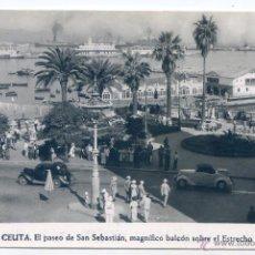 Postales: CEUTA. Nº 7. EL PASEO DE SAN SEBASTIÁN, MAGNÍFICO BALCÓN SOBRE EL ESTRECHO. FOTO RUBIO. Lote 54159501