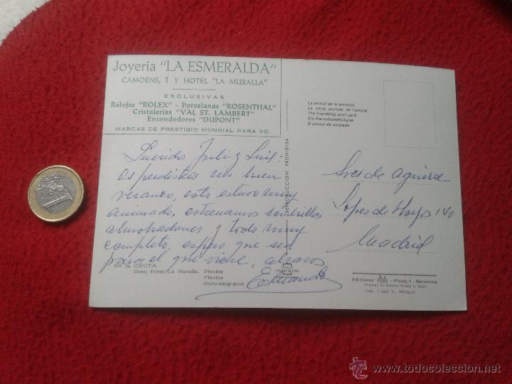 Postales: TARJETA POSTAL POST CARD Nº 34 CEUTA GRAN HOTEL LA MURALLA PISCINA PUBLICIDAD JOYERIA LA ESMERALDA V - Foto 2 - 54351341