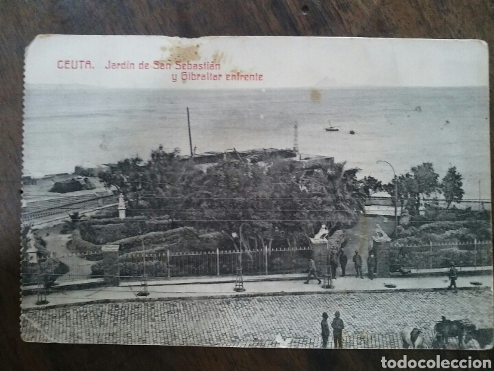 POSTAL DE CEUTA. JARDÍN DE SAN SEBASTIÁN Y GIBRALTAR ENFRENTE. 1916 (Postales - España - Ceuta Antigua (hasta 1939))
