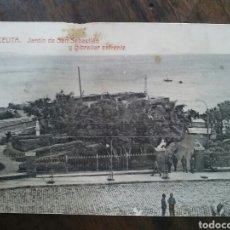 Postales: POSTAL DE CEUTA. JARDÍN DE SAN SEBASTIÁN Y GIBRALTAR ENFRENTE. 1916. Lote 62674551