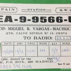 Postales: CEUTA - TARJETA UNIÓN RADIO AFICIONADOS - URE - AÑO 1979 - RADIOAFICIONADOS. Lote 67671869