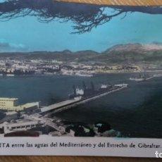 Postales: POSTAL CEUTA ENTRE LAS AGUAS DEL MEDITERRÁNEO Y DEL ESTRECHO DE GIBRALTAR FOTO RUBIO. Lote 80615430