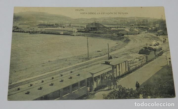 POSTAL DE CEUTA. VISTA DESDE LA ESTACIÓN DE TETUAN, TREN, FERROCARRIL, FOTOTIPIA HAUSER Y MENET, NO (Postales - España - Ceuta Antigua (hasta 1939))