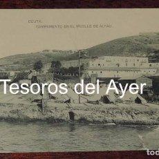Postales: POSTAL DE CEUTA, CAMPAMENTO EN EL MUELLE DE ALFAU, ED. HAUSER Y MENET, NO CIRCULADA, ESCRITA.. Lote 87295204