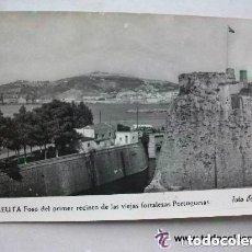 Postales: POSTAL BLANCO Y NEGRO DE CEUTA : FOSO Y MURALLAS PORTUGUESAS. AÑOS 60 . FOTO DE RUBIO. Lote 96374895
