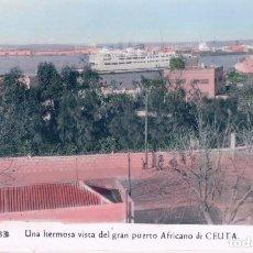 Postales: POSTAL CEUTA - UNA HERMOSA VISTA DEL GRAN PUERTO AFRICANO DE CEUTA - 133 RUBIO - COLOREADA - CIRCULA. Lote 98540467