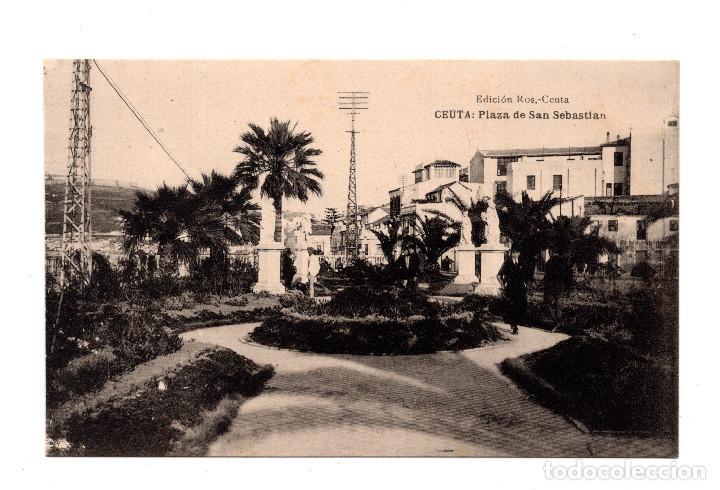 CEUTA.- PLAZA DE SAN SEBASTIAN. EDICION ROS. FOTOTIPIA HAUSER Y MENET (Postales - España - Ceuta Antigua (hasta 1939))