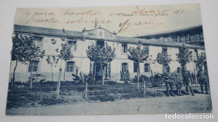 POSTAL ANTIGUA, CEUTA CUARTEL DE LA LEGION, ESCRITA A MEDICO FORENSE EN HELLIN (Postales - España - Ceuta Antigua (hasta 1939))