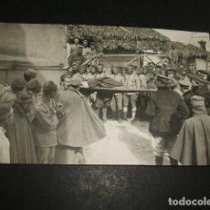 Postales: CEUTA GUERRA DEL RIF POSTAL FOTOGRAFICA TRASLADO HERIDOS TRAS COMBATE ANGEL RUBIO FOTOGRAFO. Lote 110277599