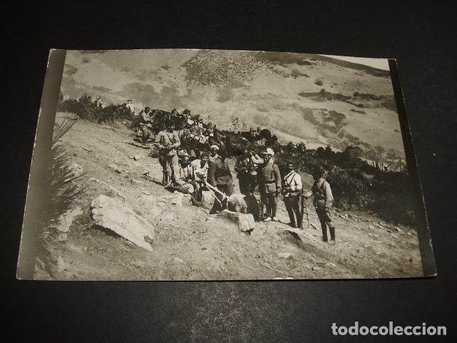 CEUTA GUERRA DEL RIF POSTAL FOTOGRAFICA REGULARES CON CARNERO (Postales - España - Ceuta Antigua (hasta 1939))