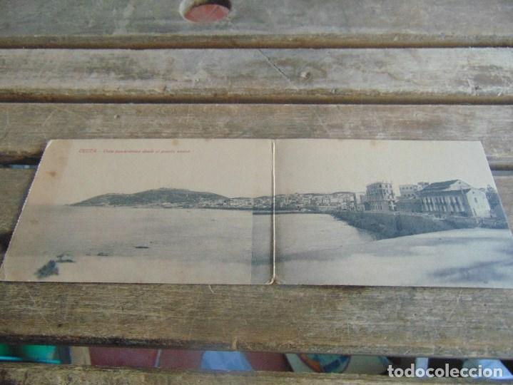 TARJETA POSTAL DOBLE VISTA PANORAMICA DESDE EL PUERTO NUEVO CIRCULADA (Postales - España - Ceuta Antigua (hasta 1939))