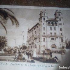 Postales: PRECIOSA POSTAL CIRCULADA 3-12-42 CASA TRUJILLO Y JARDINES DE SAN SEBASTIAN CEUTA. Lote 114617079