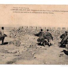 Postales: CAMPAÑA DEL RIF. 1921. OCUPACION DEL DAR DRIUS. POLICÍA INDIGENA TOMANDO ASALTO. HAUSER Y MENET.. Lote 114713099