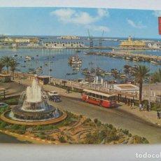 Cartoline: POSTAL DE CEUTA : VISTA PARCIAL DEL PUERTO . AÑOS 60, AUTOBUS Y COCHES DE EPOCA. Lote 129405895