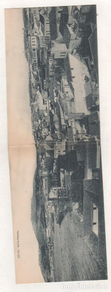CEUTA POSTAL DOBLE. VISTA PARCIAL. FOTOTIPIA HAUSER Y MENET. SIN CIRCULAR. (Postales - España - Ceuta Antigua (hasta 1939))