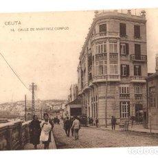 Postales: TARJETA POSTAL CEUTA. CALLE DE MARTINEZ CAMPOS. Nº 14. HAUSER Y MENET. Lote 133637973