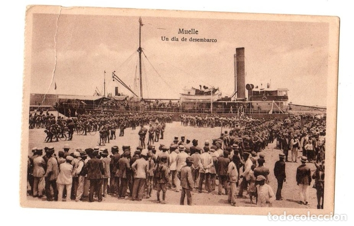 TARJETA POSTAL MELILLA. MUELLE. UN DIA DE DESEMBARCO. ESPAÑA NUEVA (Postales - España - Ceuta Antigua (hasta 1939))