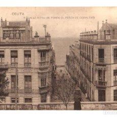 Postales: TARJETA POSTAL CEUTA. CALLE ALFAU (AL FONDO DEL PEÑON DE GIBRALTAR). Nº 9. HAUSER Y MENET. Lote 134291034