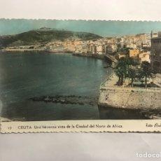 Postales: CEUTA. POSTAL COLOREADA, UNA HERMOSA VISTA DE LA CIUDAD DEL NORTE DE AFRICA. EDITA: FOTO RUBIO. Lote 150060656