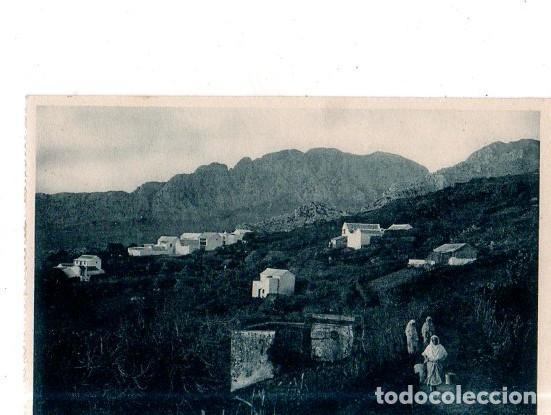 TARJETA POSTAL DE CEUTA. POBLADO DE LA CABILA DEL BIUT, AL FONDO EL YEBEL- MUSSA. (Postales - España - Ceuta Antigua (hasta 1939))