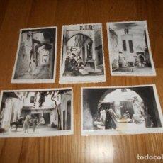 Postales: 5 POSTALES DE TETUAN MARRUECOS CALLE UXAA MEZQUITA ZAIDA BARRIO HEBREO HADDADIN ARCO HAMAN. Lote 155348886